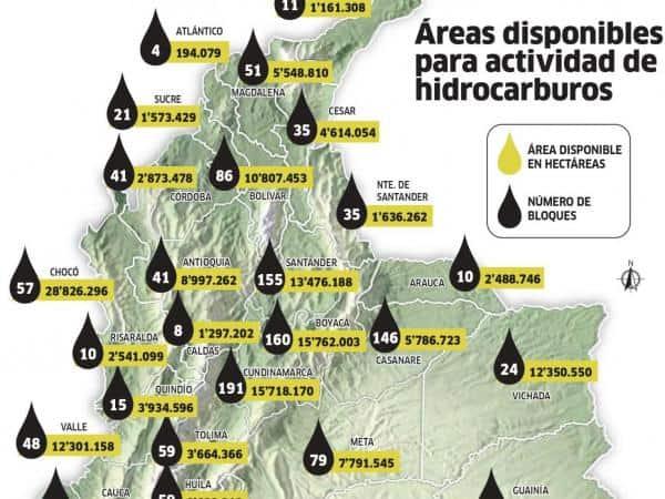 Áreas disponibles para actividad de hidrocarburos.