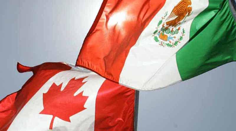 Banderas de Canadá y México