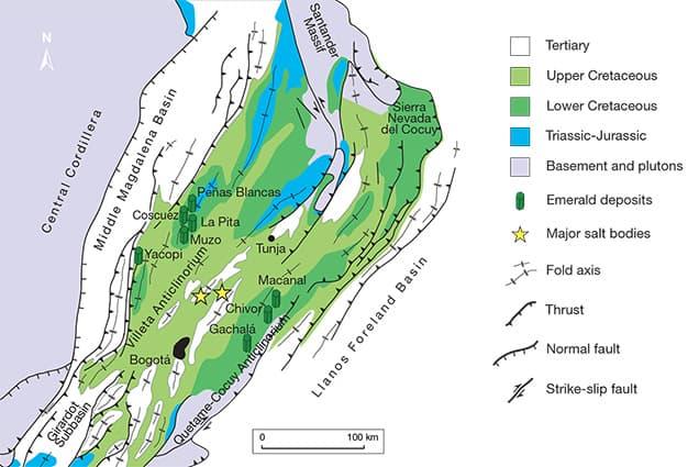 Mapa geológico simplificado de la Cordillera Oriental de Colombia y la distribución de los principales depósitos de esmeraldas