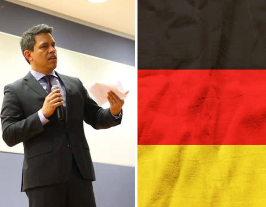 Francisco Quiróga y bandera de Alemania